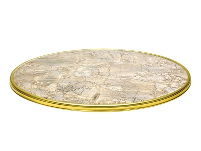 Werzalit table top with decorative ring